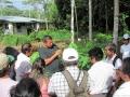 14. Zaměstnanec výzkumného ústavu peruánské Amazonie - Instituto de Investigaciónes de la Amazonía Peruana ukazuje možnosti konzervace a množení cenných druhů dřevin; poblíž města Pucallpa, Ucayali, Peru (JL).